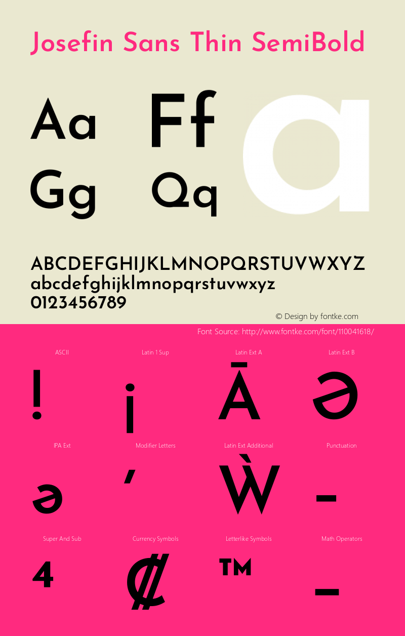 Josefin Sans Thin SemiBold Version 2.000图片样张
