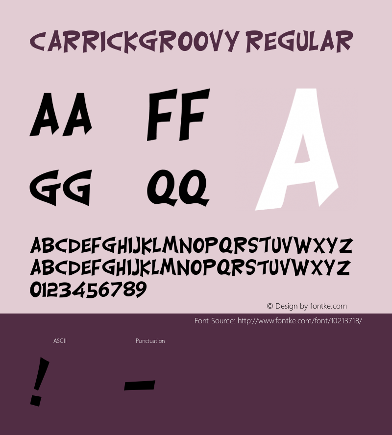CarrickGroovy Regular Altsys Fontographer 4.0.2 11/8/93图片样张